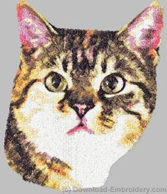 Embroidery designs, embroidery digitizing and FREE designs every week. New ideas, unique embroidery techniques and creative embroidery designs Machine Embroidery Gifts, Embroidery Motifs, Machine Embroidery Designs, Embroidery Ideas, Cat Machines, Manx Cat, Photo Stitch, Creative Embroidery, Cat Pattern