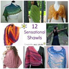 12 Sensational Shawl Crochet patterns - Make them and wear them as shawls, wraps, scarves, cover-ups, and more. SimplyCollectibleCrochet.com