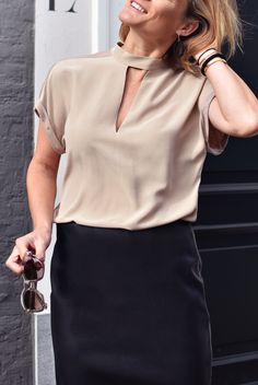 Silk top with jersey back