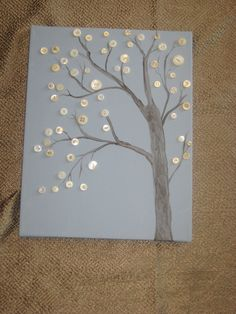 Hand painted Button tree made with vintage buttons.