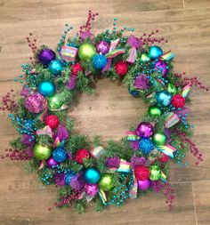 Purple, Green, Pink and Teal Christmas Wreath