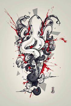 diseños de tatuajes 2019 Remi Is Melting Dots Tattoo: Photo - Tattoo Designs Photo Dot Tattoos, Body Art Tattoos, Tattoo Drawings, Sleeve Tattoos, Art Drawings, Octopus Tattoo Design, Octopus Tattoos, Tattoo Designs, Octopus Drawing