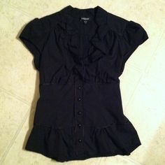Bebe top!! Black button up with slight ruffle v neck! bebe Tops