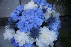 Blue hydrangea, thistle and white peony. Created  June.