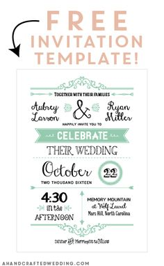 FREE Printable Wedding Invitation Template AND details card! ahandcraftedwedding.com                                                                                                                                                      More