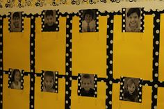Love this bulletin board idea ~ Each student selects a piece of work to display under his/her picture. classroom, students, idea, bee theme, camera, bulletin boards, display student, student work display, back to school