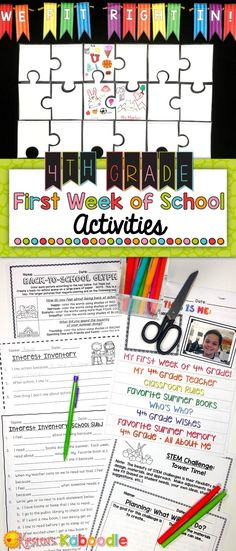 Are you teaching 4th grade? These back to school activities are easy to use and are created especially for 4th grade (other grade levels available... click the link and find them in the product description). This beginning of the year activity product includes a glyph, a STEM challenge, a flip book, interest inventories, and a beginning of the year bulletin board activity. Start your year off on the right foot with these easy to use, get to know you activities for your students!
