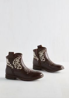 What's the Gig Idea? Bootie in Espresso - Brown, White, Solid, Embroidery, Casual, Festival, Good, Ankle, Low, Faux Leather