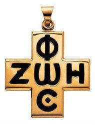 008184 Phos-Ζωή Σταυρός, 14 καράτια χρυσό με μαύρο ένθετο
