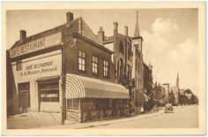 Helmond, café restaurant Cambrinus op de hoek van de Veestraat en Markt uit de periode 1910-1920.