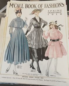 pages of 1916 original McCalls pattern catalog.  I'm drawn to the capelet dress on the left