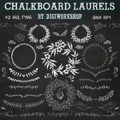 "Chalkboard laurels clipart ""Chalkboard laurels"" set with chalkboard laurels, elements, leaves, wreaths, flourishes, floral elements."
