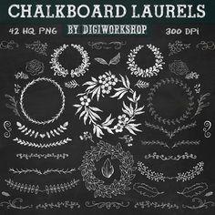 "Chalkboard laurels clipart ""Chalkboard laurels"" set with chalkboard laurels, elements, leaves, wreaths, flourishes, floral elements."