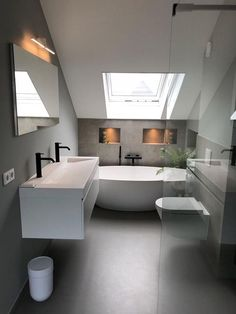 Simple bathroom layout on floor and color play between gray and white walls … - Modern Bathroom Sink Decor, Modern Bathroom Tile, Loft Bathroom, Tiny House Bathroom, Bathroom Design Small, Bathroom Layout, Simple Bathroom, Bathroom Interior Design, Bathroom Organization