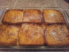 heart emoticon FRENCH TOAST BAKE heart emoticon  Ingredients 1/2 cup melted butter (1 stick) 1 cup brown sugar 1 loaf Texas toast 4 eggs 1 1/2 cup milk 1 teaspoon vanilla Powdered sugar for sprinkling  Directions 1. Melt butter in microwave & add brown sugar....stir till mixed. 2. Pour butter/sugar mix into bottom of 9 x 13 pan....spread around 3. Beat eggs, milk, & vanilla 4. Lay single layer of Texas Toast in pan 5. Spoon 1/2 of egg mixture on bread layer 6. Add 2nd layer of Texas Toast 7. Spoon on remaining egg mixture 8. Cover & chill in fridge overnight 9. Bake at 350 for 45 minutes (covered for the first 30 minutes) 10. Sprinkle with powdered sugar 11. Serve with warm maple syrup
