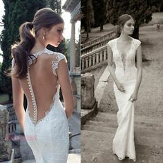 Popular Deep V-neck See-through Mermaid White/Ivory Wedding Gowns Bridal Dress