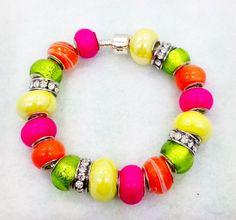 Neon European Style Charm Bracelet by Graceandliz on Etsy, $15.00