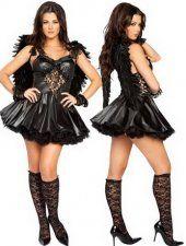 Sexy bretelles en dentelle noire licol le costume d'ange