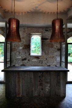 Wine barrel stave lighting