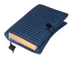 SALE HALF PRICE Fabric Book Cover PINSTRIPE BLUES £8.00
