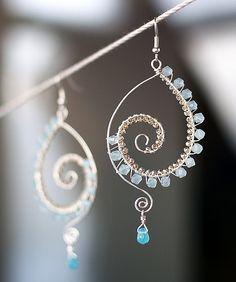 Lightness of moon beams, Spiral bead in aquamarine earrings