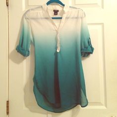 White/Green Ombré Top Rue 21 long, sheer shirt with a gorgeous white to green ombré. I love this shirt, I just never wear it anymore. The color is just perfect for spring! Rue 21 Tops Blouses