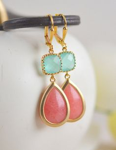 Coral Pink and Mint Aqua Bridesmaid Earrings. Dangle by RusticGem