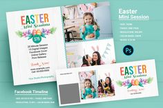 Easter Photography Mini Session Template, Photoshop Template Photography Mini Sessions, Photo Folder, Print Release, Photography Marketing, Mini Photo, Text On Photo, Journal Cards, Digital Image, Flyer Design