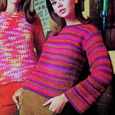 INSTANT DOWNLOAD PDF Crochet Pattern Two Simple Sweaters Tunic   Vintage Retro