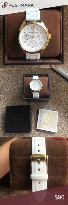 Michael kors watch with gold detail This is a rubber white Michael Kors watch with gold hardware. 100% authentic. Comes with the box, booklet, and original MK tag. The watch is in great condition, but has normal wear and tear because i did wear it. Doesnt have any obvious flaws, just micro scratches on the gold parts. There are no scratches on the glass face of the watch. Feel free to ask any questions you may have!  *The battery is dead so it will need a battery! Michael Kors Accessories…