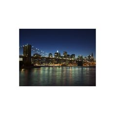 Manhattan Skyline and Brooklyn Bridge at Dusk, New York City, New... (53 CAD) ❤ liked on Polyvore featuring home, home decor, wall art, brooklyn, new york, new york city, new york's cities, travel, u.s. states and united states