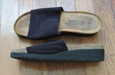 Naot Alana Women Black Stretch Slide Sandals Size 37 L6 #NaotFootwear #Sandals