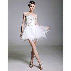 Sexy A-line Strapless Short/Mini Organza Wedding Dress  – USD $ 129.99