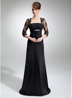 A-Line/Princess Square Neckline Court Train Chiffon Tulle Charmeuse Mother of the Bride Dress With Ruffle Lace Beading JJSHOUSE