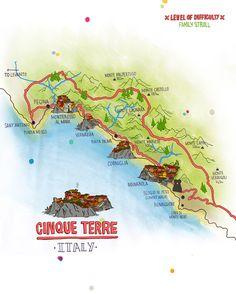 Corniglia Italy Map.Map Of The Cinque Terre 5 Towns Starting With Monterossa Al Mare