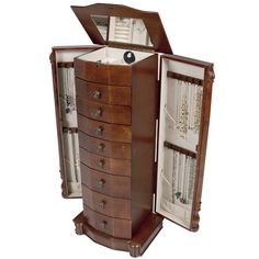 A jewelry armoire keeps all of your jewelry organized, clean, and secure. Choose from a variety of styles and colors here!