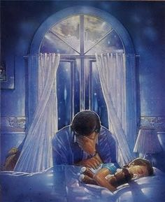 Father praying over child.