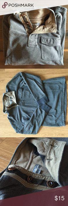 Eddie Bauer Men's Navy/Gray Sweater Eddie Bauer Men's Navy/Gray Sweater, Three Bronze Worn Looking Buttons, One Pocket On Left Side, Some Pilling From Wear, Great Winter Sweater! Eddie Bauer Sweaters