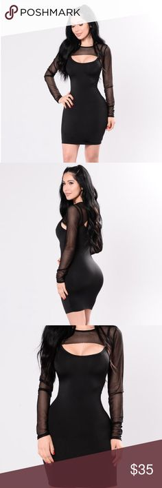 SEXY black dress * Available in Black * Spaghetti Strap Dress * Super Cropped Long Sleeve Overlay Top * Self: 95% Polyester 5% Spandex * Contrast: 96% Polyester 4% Spandex Fashion Nova Dresses Mini