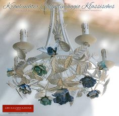 Lampadari, lampade, applique, lanterne in ferro battuto. GBS Tole Floral Lamps, hand-made in Florence since Made in Tuscany Romantic Bedroom, Cobalt, White Chandelier, Wrought Iron Chandeliers, Shabby Chic Lighting, Lights, Chandelier, Wrought Iron, White