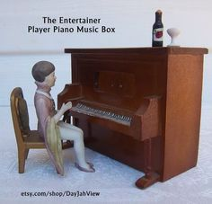 The Entertainer Player Piano Music Box by DayJahView on Etsy, $34.95