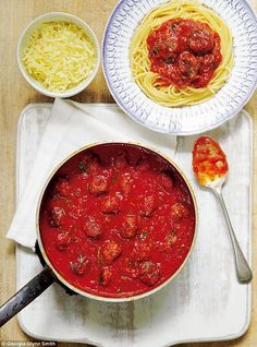 Meatballs in Tomato Basil Sauce ~ beef meatballs w/cheese & garlic, to serve piping hot over spaghetti ~ recipe from the book 'Mary Berry's Absolute Favourites' | via Daily Mail
