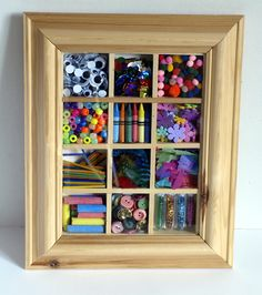 Why not display a whole bunch of art materials in a shadow box?! How could you not be inspired to make art when this was hanging on the wall?