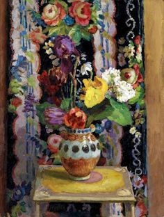 Flowers Against Chintz, 1956 by Duncan Grant. © Estate of Duncan Grant. All rights reserved, DACS Image: © Arts Council Collection, Southbank Centre. Duncan Grant, Duncan James, Vanessa Bell, Motif Floral, Arte Floral, Paintings I Love, Your Paintings, Flower Paintings, Arte Naturalista