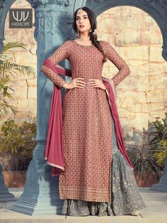 Rustic Red With Grey Contrast Intricately Embroidered Plaited Gharara Suit - New Arrivals Pakistani Dress Design, Pakistani Dresses, Indian Dresses, Indian Outfits, Designer Salwar Suits, Designer Dresses, Ladies Salwar Kameez, Anarkali Suits, Fashion Models