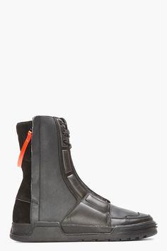 SLVR Black Leather Paneled Calf-High Sneakers