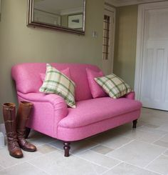 Holmfirth Small Sofa in Moon Parquet Wool Candy and contrasting scatter cushions in Moon Dales Spring. This sofa in a similar fabric can be ordered online. To order it in this fabric please call us on <b>0808 178 3211</b>, or come and see us at one of our showrooms