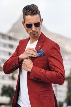 Fancy, Dapper, Men, Smart, Casual, White Shirt, Leather Shoes, Sunglasses, @RayBan, Menswear, Mens Style, Fashion, Mens Fashion, Wardrobe, City Style @KurtGeiger #mensfashion #menswear #streetstyle #redblazer