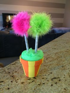 Truffula  Tree Pens my baby girl and I made for her K teacher for teacher appreciation week