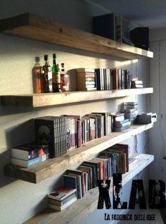Floating bookshelves, wall bookshelves, rustic floating shelves, diy wall s Homemade Bookshelves, Unique Bookshelves, Floating Bookshelves, Wall Bookshelves, Diy Wall Shelves, Shelving, Book Shelves, Homemade Shelves, Bookshelf Design